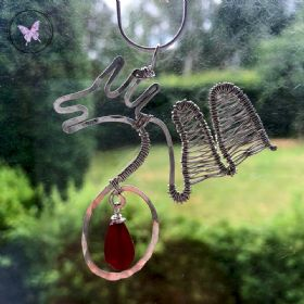 Silver Wire Wrapped Dragon Pendant with Ruby